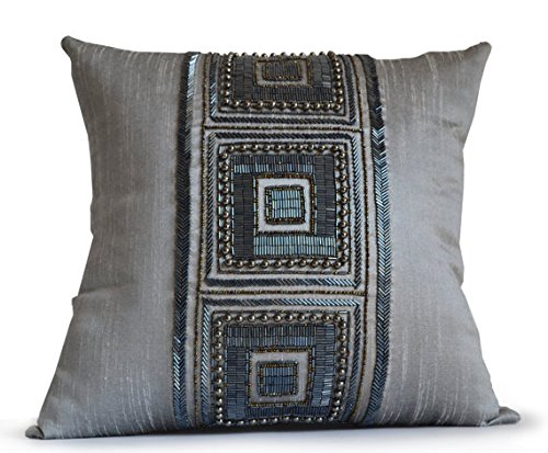 Amore Beaute Handcrafted Decorative Pillow Cover On Grey Dupioni Art Silk Geometric Beaded Throw Pillow Cover Housewarming Gift Dorm Decor (24x24 ()