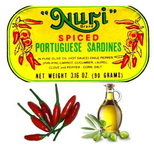 Nuri Portugese Sardines, Spicy, in Olive Oil 90g Each (Pack of 10)