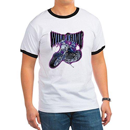 Royal Lion Ringer T-Shirt Wild Thing Motorcycle Biker - Black/White, (Fat Ringer T-shirt)