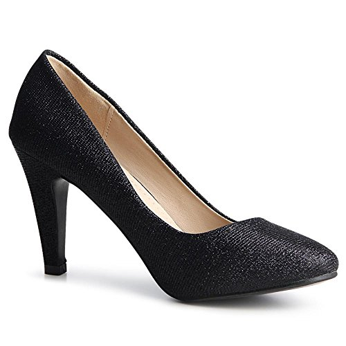 topschuhe24 - Zapatos de vestir de tela para mujer negro
