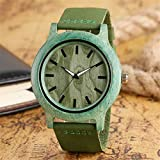 Green/Red Color Unique Wooden Watches For Men Women Unisex Style Leather Strap Simple Bamboo Wrist Watch Christmas Gift