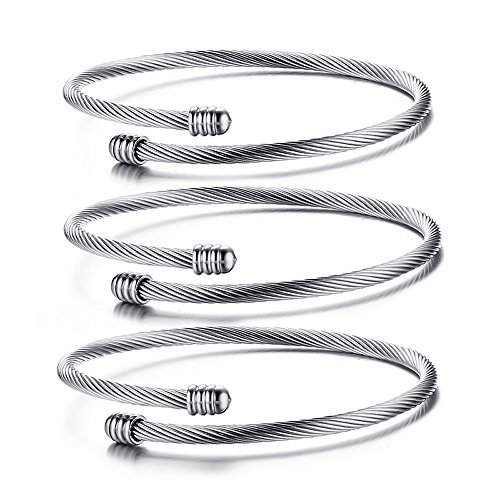 Mealguet Jewelry Stainless Steel Triple Three Stackable Cable Wire Twisted Cuff Bangle Bracelet for Women,