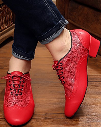 9019 Lace Jazz up Dance Spotted Aqq Closed Mens Pu shoes Modern Red Toe d4RxIHn