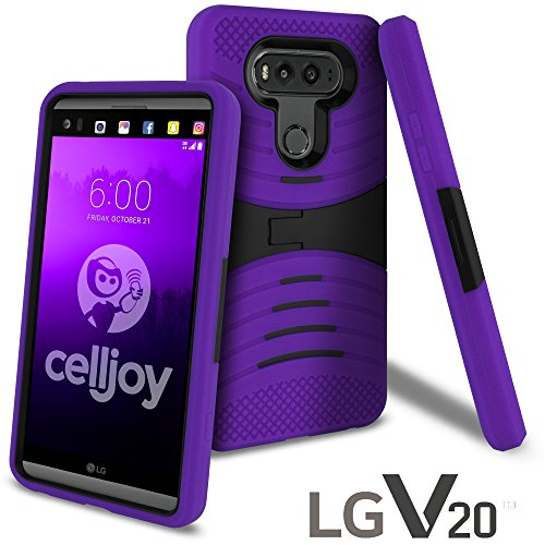 LG V20 Case, CellJoy [Extreme Kickstand Armor] LG VS995 H990 Dual Layer Hybrid [Heavy Duty] ((Shock-proof)) {Rugged Grip Skin} Premium Protective Hard Case - Robot Cover (Purple / Black)