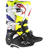 Alpinestars Men's Tech 7 Boots (White/Yellow/Blue, Size 12)