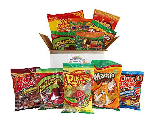 Mexican Candy Assortment Box Includes Vero Mango Chili Lollipops And Jovy Assorted Chili Flavored Candy