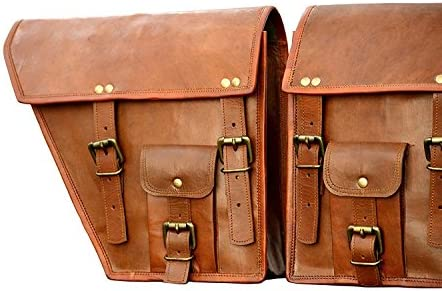 Leather Saddle Bags Motorcycle Saddlebag Set Brown 1 Pair