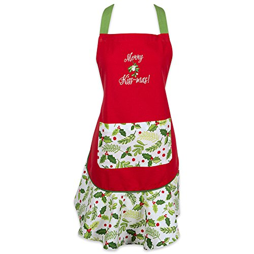 DII Cotton Chistmas Women Apron with Pocket and Extra Long Ties, 29.5 x 26