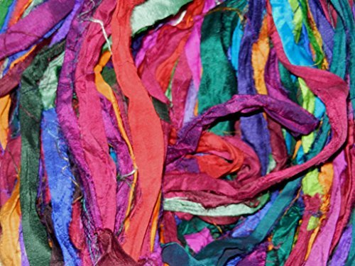 Sari Pure Silk 100g Ribbon Yarn Multi Sunset-recycled Sari Silk Yarn