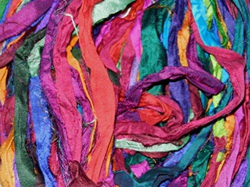 (Sari Pure Silk 100g Ribbon Yarn Multi Sunset-recycled Sari Silk Yarn)