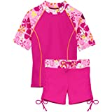 Tuga Girls Surfer Girl 2 PC Swim Set (UPF 50+), Misty Pink, 6/7 yrs