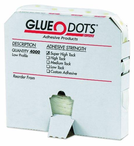 "Glue Dots Low Profile Super High Tack Glue Dot, 1/4"" Diameter x 1/64"" Thick, Case of 4000 (GD112)"