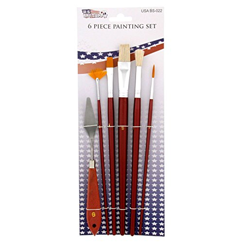 US Art Supply 6 Piece Bristle