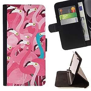 Momo Phone Case / Flip Funda de Cuero Case Cover - Flock Pink Teal fuera Naturaleza Pájaro - Sony Xperia M2