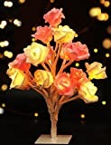 Bright Zeal LED Rose Tree Table Lamp Timer (10'' Tall, Batteries Included) - Decorations LED Rose Lights - Home Decor Lights Artificial Plants - Desk Top Tree Light LED Bonsai Tree