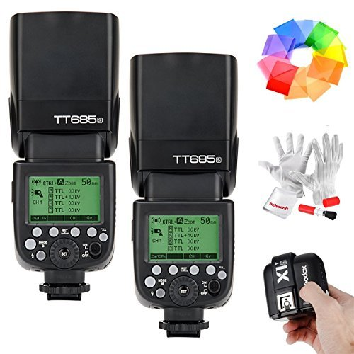 2 Pcs Godox TT685S HSS 1/8000S GN60 TTL Flash Speedlite with X1T-S 2 4G TTL Wireless Flash Trigger Flash Diffuser Softbox and Flash Color Filters for Sony DSLR Cameras with MI Shoe