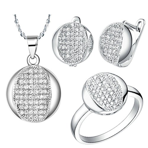 Gymnast Angel Pins (KnBoB Jewelry Sets Women Silver Plated Round CZ White Crystal Ring Pendant Necklace Earrings Set Size 7)