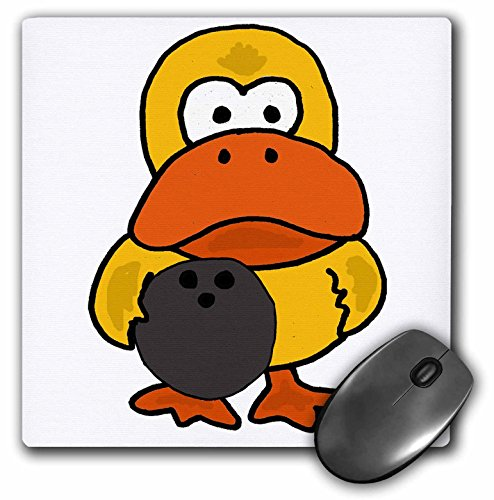 3dRose All Smiles Art Sports and Hobbies - Funny Silly Yellow Duck Bowling Cartoon - MousePad (mp_270122_1) (Silly Duck)