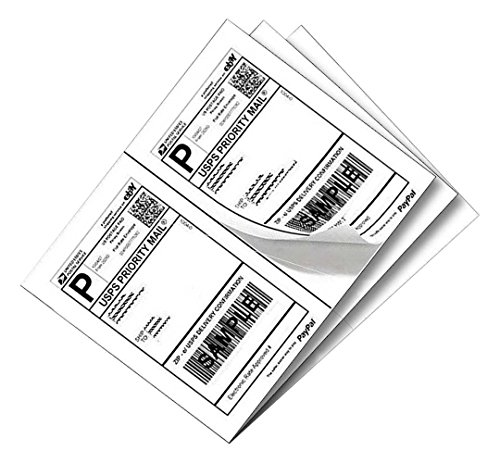 1000 Half Sheet Blank Shipping Labels For Laser/Ink Jet Printer,500 Sheets - Label Ups Shipping