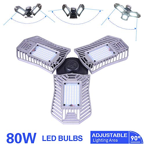LED Garage Lights, Deformable LED Garage Ceiling Lights 8000 Lumens, 80W E26/E27 Led Shop Lights for Garage, led workshop lights, Led bay light,Utility Led Garage Lighting(80W