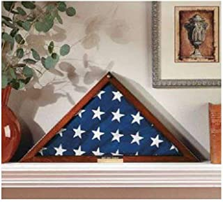 "product image for Flag Display Case Veterans with Personalized Brass Plaque - Fits a Flag Folded to 15"" X 15"" X 21"""
