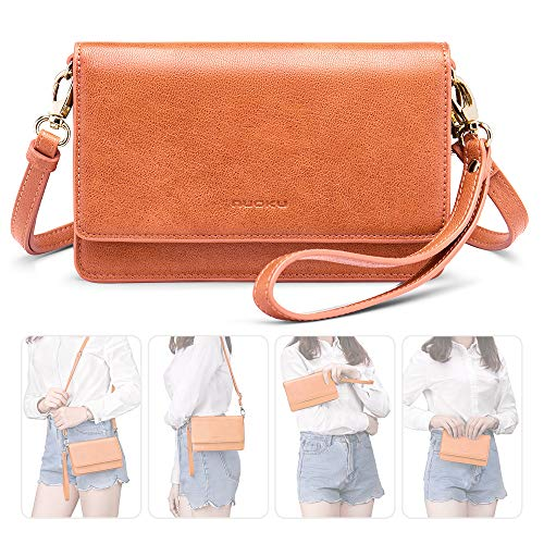 nuoku Women Small Crossbody Bag Cellphone Purse Wallet with RFID Card Slots 2 Strap Wristlet(Max 6.5'') … (Orange) by nuoku (Image #1)