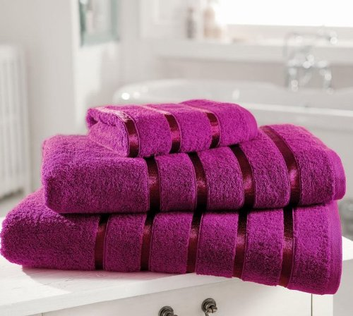 Egyptian Cotton Towel PREMIUM Extra Soft 600gsm Kensington Satin Stripe PACK OF 4 HAND TOWELS, MAGENTA Bedding Online HH0002318