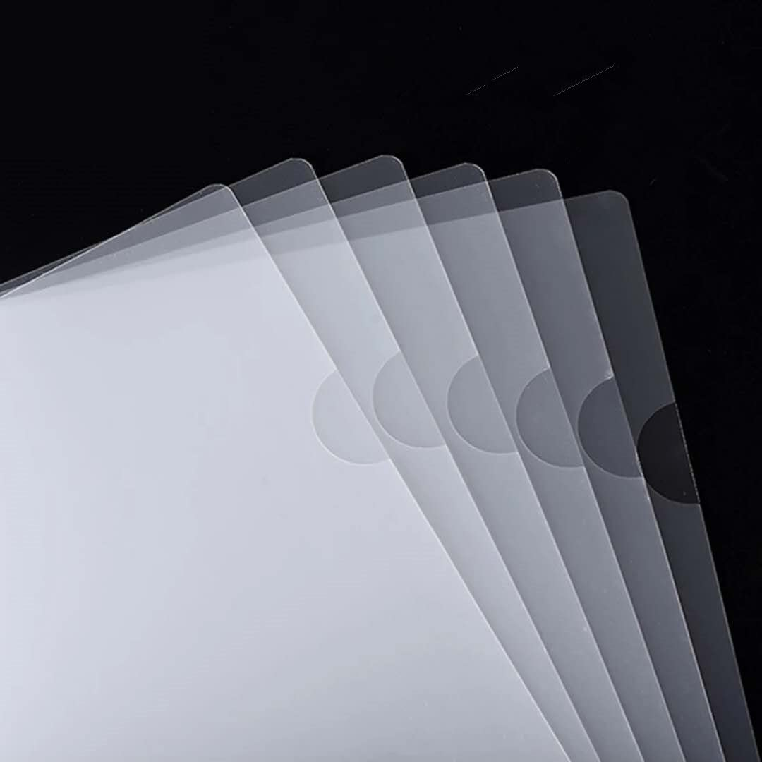 HoYun 15 pcs L-Type Plastic Folder Transparent Folders Plastic Organizer for Papers , A4 Size