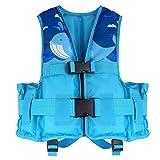 HeySplash Life Jacket for Kids, Child Size Watersports Swim Vest Flotation Device, Cute Whale Print - Blue, Large