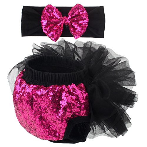 Slowera Baby Girls 2PCS Sets Cotton Tulle Sequins Diaper Cover Bloomers and Headband (Black Hot Pink, S: 0-6 Months)