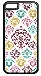 03-Large and Small Damasks-Pattern- Case for the APPLE IPHONE 4s ONLY-Hard Black Plastic Outer Case with Tough Black Rubber Lining