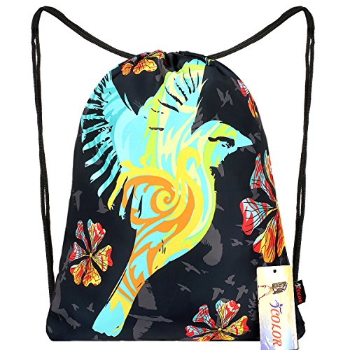 iCOLOR Sackpack Drawstring Backpack Sport Gym Bag Yoga Runner Daypack (Birds)