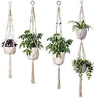 INDRESSME Macrame Plant Hanger Indoor - 4 Pack, in Different Designs, Handmade Cotton Rope Hanging Planter Holders...