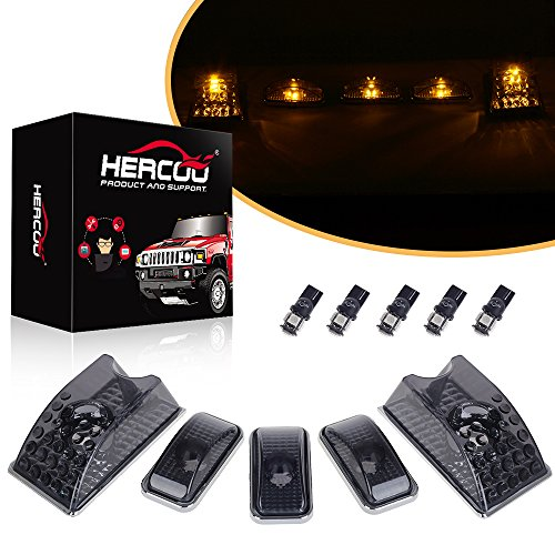 HERCOO Smoke Roof Cab Marker Clearance LED Lights Aftermarket Replacement for 2003-2009 Hummer H2(Amber - Hummer Led Roof H2