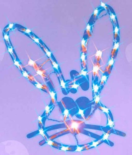 17' Lighted Blue Easter Bunny Head Window Silhouette (Lighted Bunny)