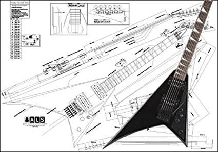 Plan of a Jackson Randy Rhoads Electric Guitar - Full Scale Print Jackson Dinky Guitar Wiring Diagrams on fender wiring diagrams, jackson guitar pickup wiring diagram, japan strat wiring diagrams, gibson quick connect diagrams,