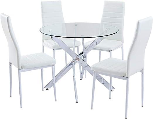 Juego de mesa de comedor redonda SICOTAS, mesa de cocina moderna y ...