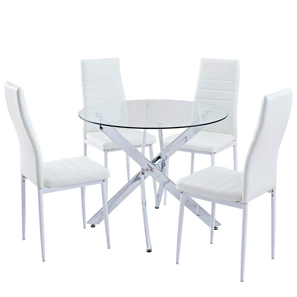 SICOTAS 5 Piece Round Dining Table Set,Modern Kitchen Table and White  Chairs for 4 Person,Dining Room Table Set with Clear Tempered Glass Top,  Dining ...