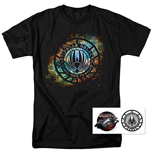 Popfunk Battlestar Galactica Logo Knock-Out T Shirt & Exclusive Stickers (X-Large)