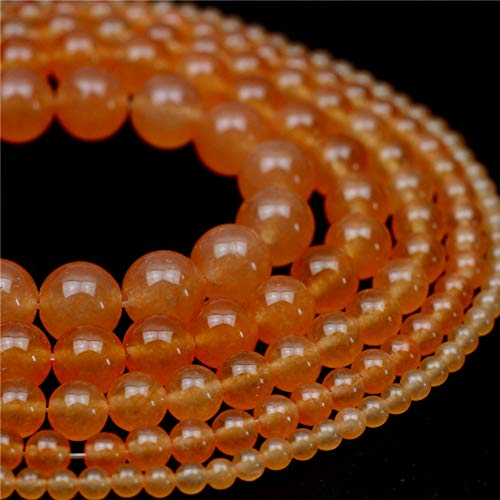 "Oameusa Natural Round Smooth 4mm Orange Chalcedony Agate Beads Gemstone Loose Beads Agate Beads for Jewelry Making 15"" 1 Strand per Bag-Wholesale"