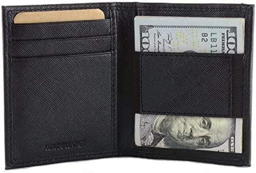 Hammer Anvil RFID Blocking Men's Leather Minimalist Cash Strap Money Clip Wallet
