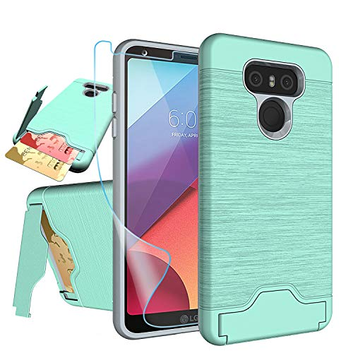 LG G6 Case,LG G6+ Plus Case with HD Screen Protector,NiuBox [Card Slot Wallet] [Kickstand] Dual Layer Hybrid Shock Absorption Protective Phone Case for LG G6,LG G6 ThinQ (Verizon 2017) - Turquoise