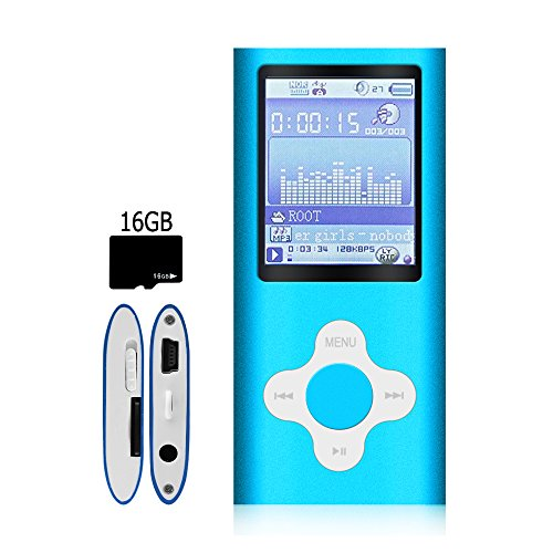 G.G.Martinsen MP3/MP4 Player,16GB Micro SD Card – Blue