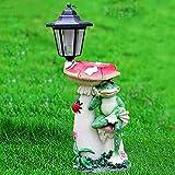 LOVEPET Outdoor Frog Mushroom Solar Light Simulation Decoration Garden Frog Mushroom Bird Feeder Garden Villary Landscape Decorations 19X17X46cm