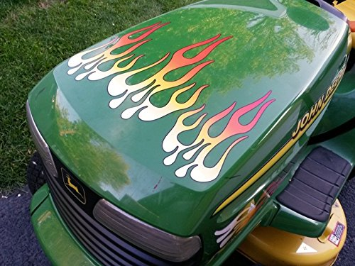 Tractor Decal Set - Flame Decals - White Hot Fire - for riding lawn mower tractor - 5pc. set