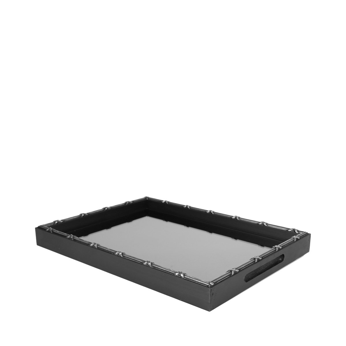Woodart Croisé Wooden Serving Tray with Handles (Black, 15x11) by Wood Art (Image #2)