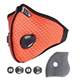 Unigear Activated Carbon Dustproof/Dust Mask - with Extra Filter Cotton Sheet and Valves for Exhaust Gas, Pollen Allergy, PM2.5, Running, Cycling, Outdoor Activities (Orange)
