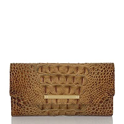 Brahmin Soft Checkbook Wallet Croco Emb Leather Toasted Almond