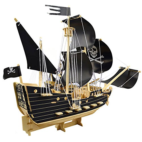 - 3D Wooden Puzzle Toy Mini Ship Boat Model, Great Gift Educational Build Jigsaw Toys for Kids, Adults(Pirate ship)