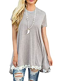 Womens Loose Fit Casual Shirts Short Sleeve Flowy Tunic...
